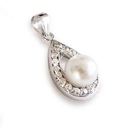 Perlenanhänger Anhänger mit Süßwasser Zuchtperle, Zirkonia und 925 Silber Rhodium, echte Perle