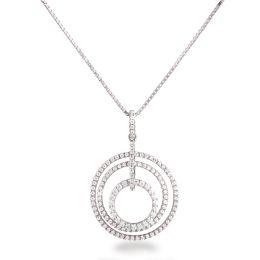 Runder Anhänger aus 3 Ringen besetzt mit Zirkonia und Halskette 925 Silber rhodiniert,
