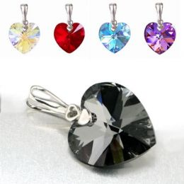 Schmuckanhänger mit Swarovski® Kristall Herz 21mm groß, 925 Silber Rhodium, verschiedene Farben