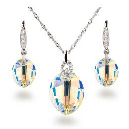 Schmuckset 925 Silber Rhodium mit Swarovski® Kristall Leaf in Crystal Aurora Boreale