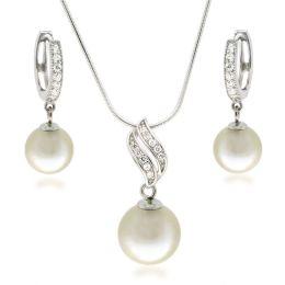 Schmuckset Perlen Anhänger mit Halskette und Creolen Ohrringe mit Zirkonia, 925 Silber rhodiniert