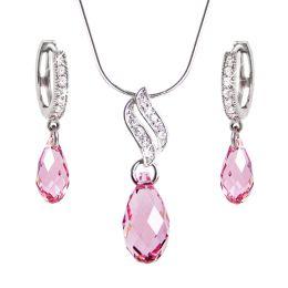 Schmuckset rosa Briolett Kristalle von Swarovski®, glitzernde Zirkonia, 925 Silber rhodiniert