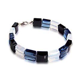 Stairway Bead Armband aus Swarovski® Kristall in schwarz, blau, weiß, 925 Silber