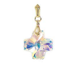 Vergoldeter Schmuck Anhänger mit Swarovski® Kristall Kreuz in Crystal Aurora Boreale, 10/000 Gold-Doublé