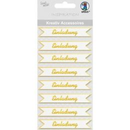3 D Sticker  Einladung gold