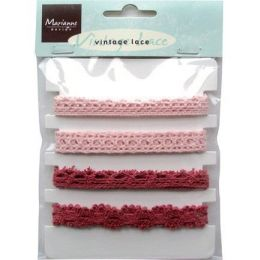 4 Spitzen-Band Vintage Band  lace pink