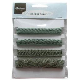 4 Spitzen-Band Vintage lace  Weihnachts grün