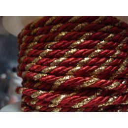 Acetat-Kordel  4mm rot/gold zweifarbig