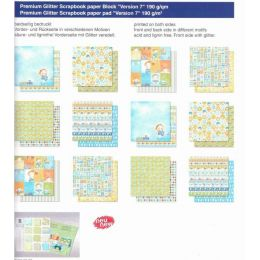 Baby Junge Boy PREMIUM GLITTER SCRAPBOOK PAPIER BLOCK 12x12,VERSION 7