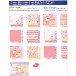 Baby Mädchen Girl PREMIUM GLITTER SCRAPBOOK PAPIER BLOCK 12x12,VERSION 6