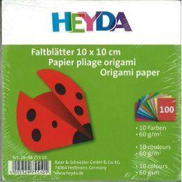 Faltblätter, Origami, Kusudama 10 x 10 cm uni 100 Blatt; 10 Farben