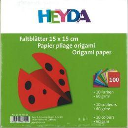 Faltblätter, Origami, Kusudama 15 x 15 cm uni 100 Blatt; 10 Farben