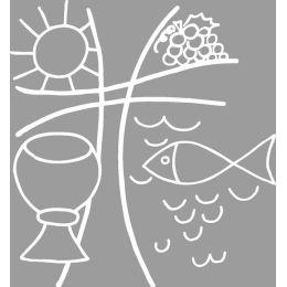 Holz Motivstempel, Christliches Motiv, 6x6 cm