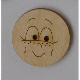 Holzknopf Gesicht Design 3