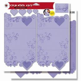 Karten mit Herzen, Stanzbogen, 30,5x30,5 cm, SB-Btl. 1 Bogen = 2 Stück, flieder