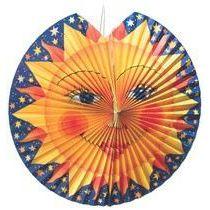 Lampion Sonne, aus Papier, Drahtgestell