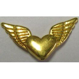 Metallverzierteil - echt vergoldet, nickelfrei - 25 mm, geflügeltes Herz