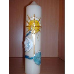 Taufkerze Sonne,Wasser, Kreuz, Alpha und Omega Zeichen handarbeit