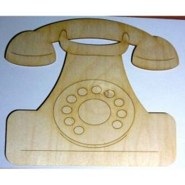 Telefon mit Wählscheibe Holzkleinteil aus Holz
