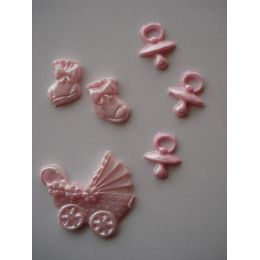 Wachsdekor Geburt Mädchen Schnuller, Kinderwagen,Schuhe