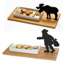Kreative Keksschale mit Elch oder Klaus aus Ahornholz und Porzellan