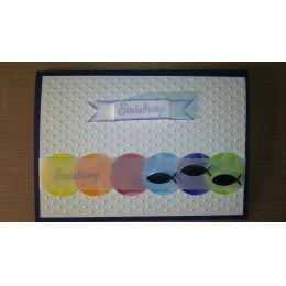 B6 Karte mit Regenbogenkreise und Fische dunkelblau