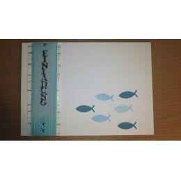 Handgearbeitete B6 Karte Fische fertige Karte oder Bastel-Set für 15 Karten