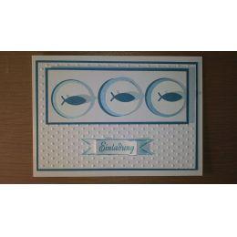 Handgearbeitete B6 Karte für christliche Feste 3 Fische auf Kreise