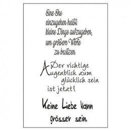 Stempel Clear, Eine Ehe einzugehen heißt: kle, A7 / 74 x 105 mm, 3 - teilig, transparent