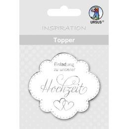 """Topper """"Einladung zu unserer Hochzeit"""" weiß / silber oder weiß / gold"""