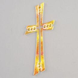 Wachsdekor, Filigranes Kreuz, 110 x 45 mm, blau grün gold oder rot gelb gold