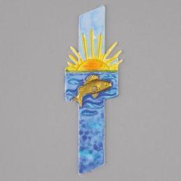 Wachsdekor, Kreuz + Fisch + Sonne, 140 x 45 mm, 1 Stk., bunt