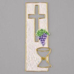 Wachsdekor, Kreuz + Kelch, 155 x 55 mm, 1 Stk., perlmutt flieder