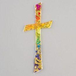 Wachsdekor, Kreuz mit Wellen, 110 x 45 mm, 1 Stk., regenbogen gold