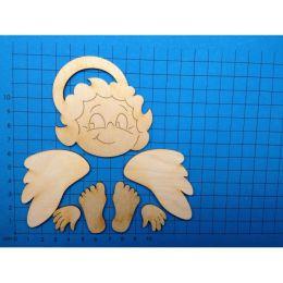 Engelkopf 70 mm mit Flügel, Hände und Füße