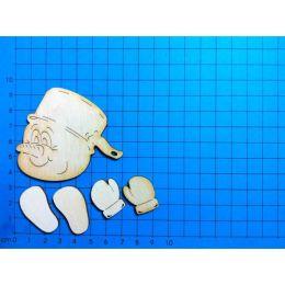 Schneemannkopf ab 60mm, 3mm mit Hände und Füße