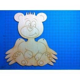 Teddy sitzend mit Flügel 180 mm mit 2 Linien in Flügel/Türschild