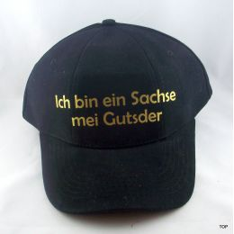 """Basecap Sachsen """"Ich bin ein Sachse mei Gutsder"""" Mütze sächsische Spruch Ossi schwarz"""
