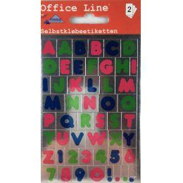 Buchstaben Alphabet  Zahlen Sticker Großbuchstaben verschiedene Farben Etiketten Schriftgröße 12 mm Klebestick