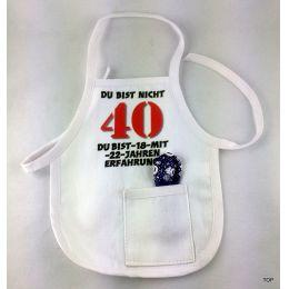 Flaschen Schürze Mini Schürze DU BIST NICHT 40 Eine originelle Art Flaschen zum 40. Geburtstag zu verschenken