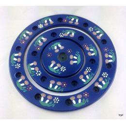 Geburtstags Ring Kranz mit Lebenslicht Holz 3 Ringe Blau Rot 16+1 Kerzen