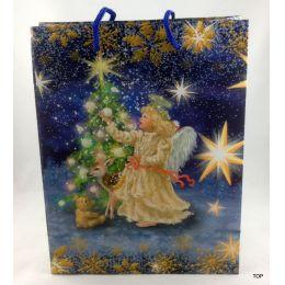 Geschenktüte Papiertüte Engel Weihnachten glänzend 23 x 18 x 10 cm
