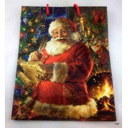 Geschenktüte Santa Claus Papiertüte Weihnachten glänzend  23 x 18 x 10 cm