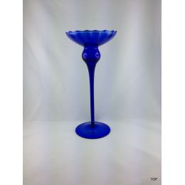 Glas Kerzenhalter Kerzenständer für Spitzkerzen Kugelkerzen  in Blau