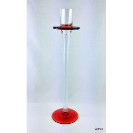 Glas Kerzenleuchter Klassisch eleganter Kerzenhalter mit einem leuchtenden blau oder rot und einem zarten Kelc
