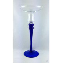 Glas  Kerzenständer Stiel und Fuß in einem eleganten blau