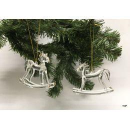 Glas Ornament Glasfigur Schaukelpferd Weihnachtsdekoration 2 Stück in Geschenkschachtel mit Klarsichtfenster