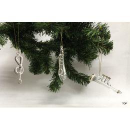 Glas Ornament Glasfiguren Christbaumschmuck Dekoration 3 Figuren Trompete Gitarre und Notenschlüssel Geschenks