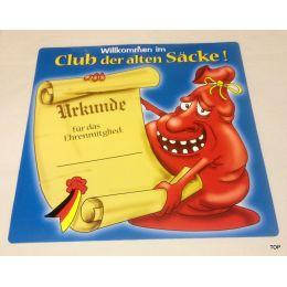 Glückwunschschild Willkommen im Club der alten Säcke Party Geburtstag Urkunde