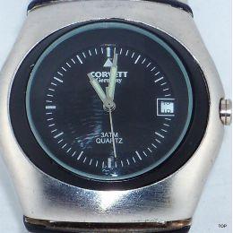 Herrenarmbanduhr mit Edelstahl Gliederarmband Quarzuhrwerk und Geschenkebox Marke Corvett
